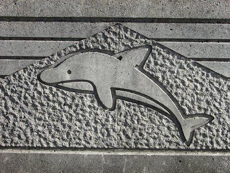 Dolphin, Relief, Stone