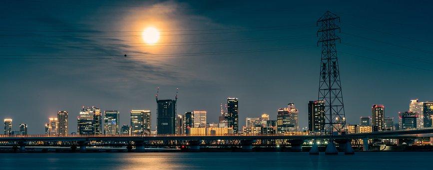 Buildings, Bridge, Road, Highway, Full Moon, Night View