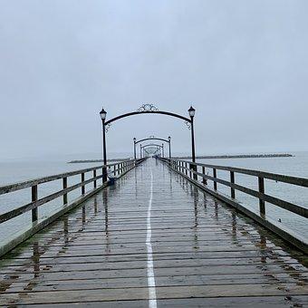 Pier, Rain, Sea, Fog, Mist, Jetty, Dock, Boardwalk