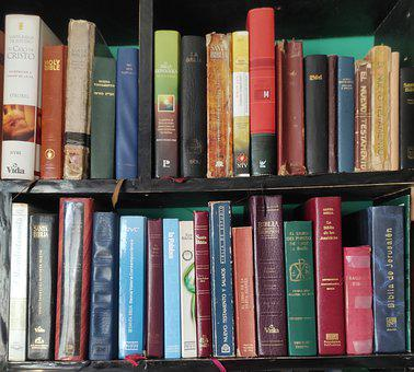 Books, Shelves, Library, Bible, Translations, Versions