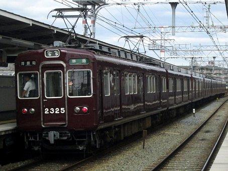 Hankyu, Electric Train, Station, Japan, Commuter