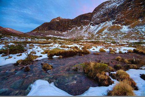Water, Snow, Mountains, River, Stream, Landscape