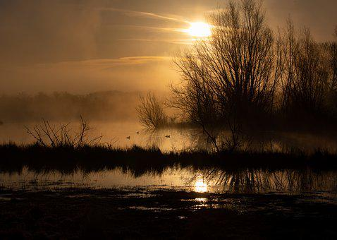 Riverbank, Fog, Sunrise, River, Silhouette, Sun