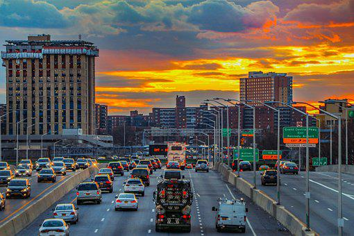 Sunset, Cars, Traffic, Streets, Roads, Highway, Freeway