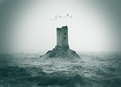 Tower, Island, Ocean, Waves, Sea, Lighthouse, Building