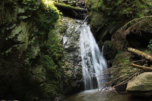 Waterfalls, Rocks, Moss, Flow, Flowing Water, Water