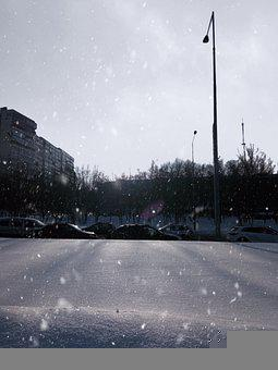Winter, Snowfall, City, People, Landscape