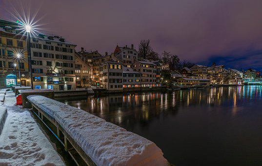 Winter, Zurich, City, Historic Center, Railing