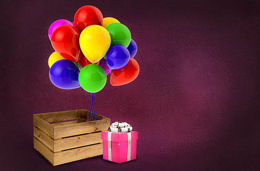Crate, Birthday, Background, Copy Space, Balloons, Gift