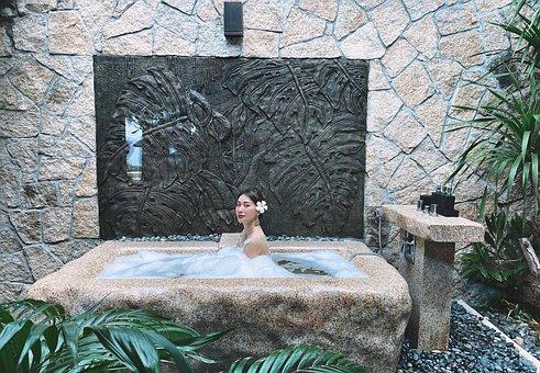 Girl, Bath, Jacuzzi, Bathing, Spa, Relax, Asian