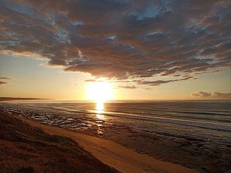 Sunrise, Beach, Ocean, Sea, Seascape, Morning, Sky