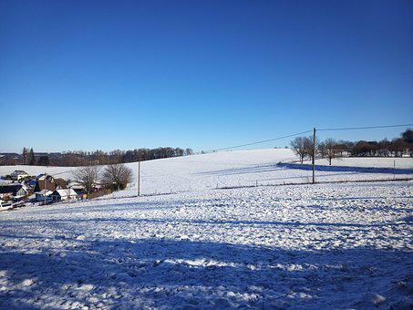 Snow, Schnee, Blue Sky, No Clouds, Sunshine, Sun, White