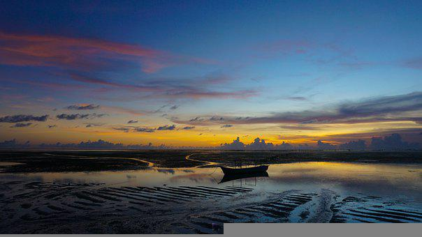 Beach, Sunset, Boat, Silhouette, Boat Silhouette, Dusk