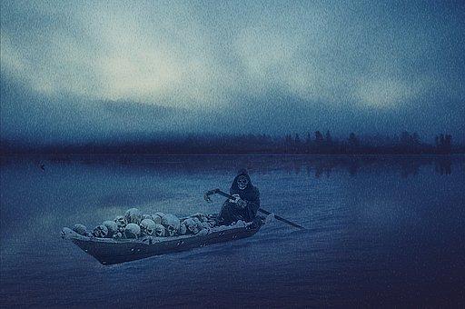 Death, Boat, Bones, Souls, Charon, Dead, Rain, Acheron