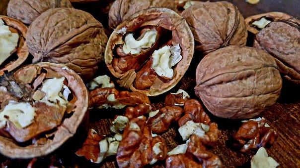 Nuts, Walnut Kernel, Broken Walnuts, Brown, Food, Fruit