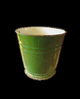 Bucket, Enamel, Water, Metal, Green