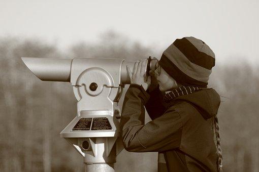 Child, Telescope, Monochrome, Winter, Cold, Cap, Nature