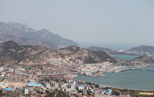 China, Mountain, Sea, Coastline, Bay
