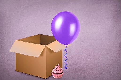 Box, Birthday, Background, Copy Space, Balloon, Cupcake