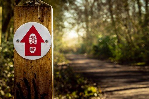 Walking, Sign, Footpath, Countryside, Trail, Bridleway