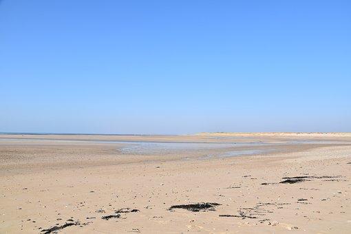 Marine Panoramic View, Sandy Beach, Distant Sea