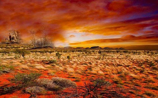 Desert, Sandstone, Sunset, Sand, Dry, Landscape