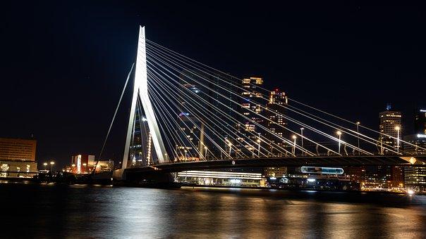 Bridge, Erasmus, Erasmusbrug, Night, Illuminated