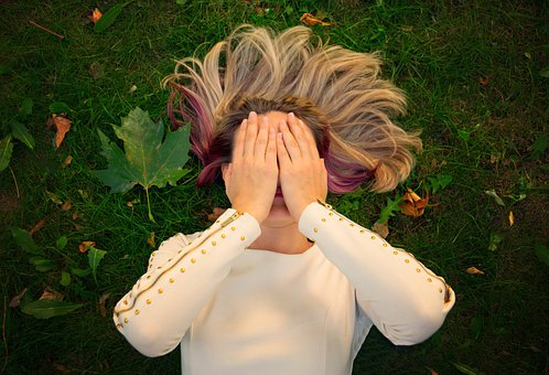 Woman, Face, Hands, Cover Up, Female, Hair, Fall