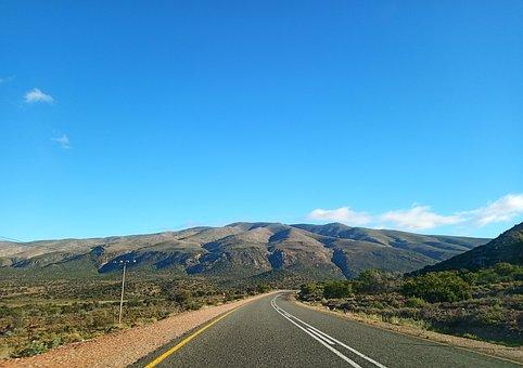 Road, Mountains, Landscape, Pavement, Field, Route