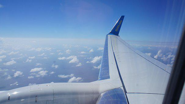 Sky, Airplane, Wing, Plane, Aircraft, Flight, Clouds