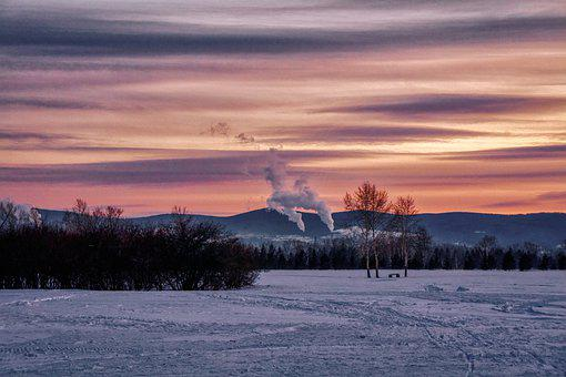 Evening, City, Winter, Frost, Pipe, Smoke, Ecology