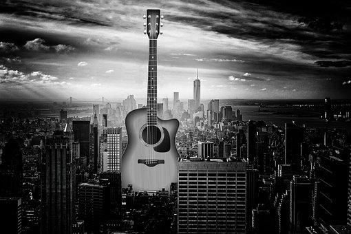Guitar, City, Buildings, Architecture, Skyline