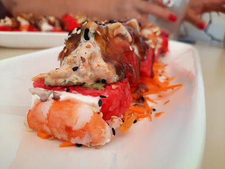 Sushi, Red, Seafood, Fish, Food, Healthy, Japan