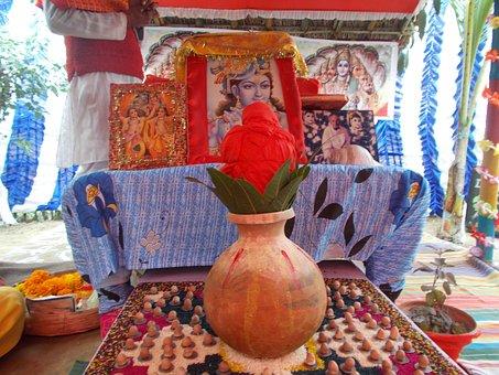 Flower, Vase, Lord Krishna, Lord, India