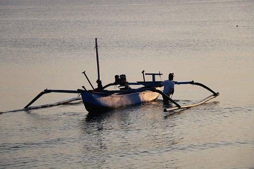 Boat, Fishing, Man, Bali, Fish, Asia, Fishing Boat