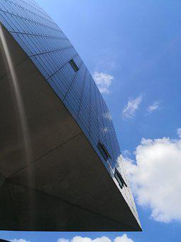 Architecture, Glass, Mirroring, Sky, Blue, Perspective