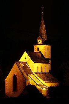 Church, Night, Christmas, Evening, Architecture, Dark