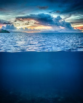 Water, Ocean, Underwater, Sea, Sky, Sunset, Nature