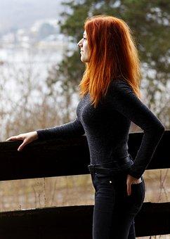 Lady, Redhead, Readhead, Nature, Portrait, Woman