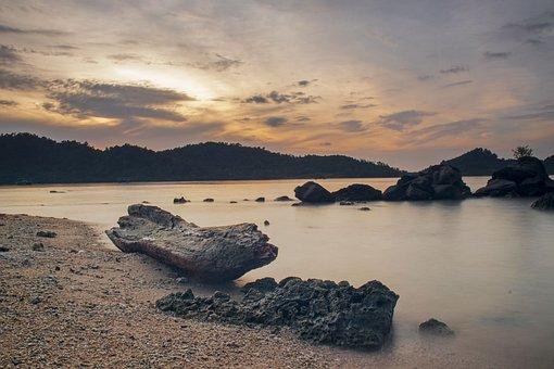 Beach, Sand, Shore, Coast, Rocks, Boats, Bright, Cloudy