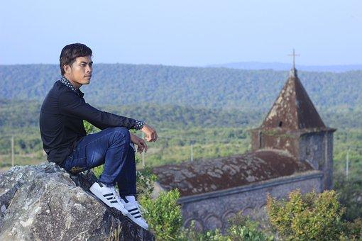 Alone, Sad, Gospel, Faith, Praying, Sitting, Church