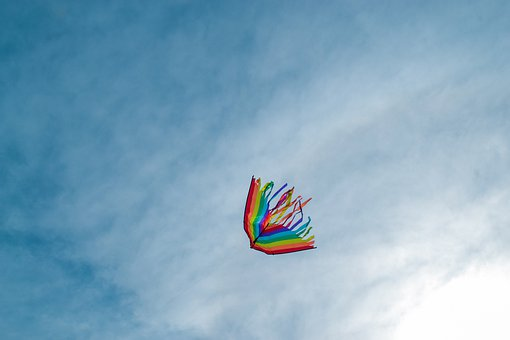 Kite, Flying, Sky, Colorful Kite, Clouds, Freedom, Park