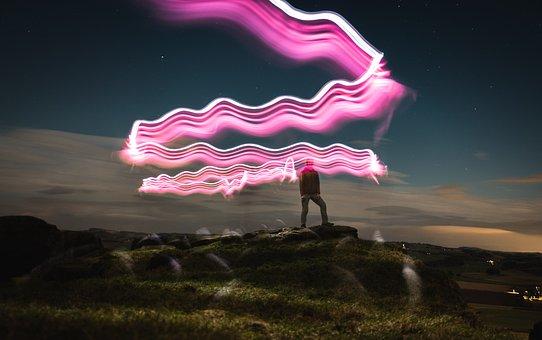 Lights, Long Exposure, Night, Torch, Light, Sky, Stars