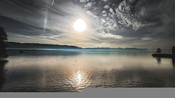 Lake, Silent, Landscape, Mountains, Sky, Sunrise