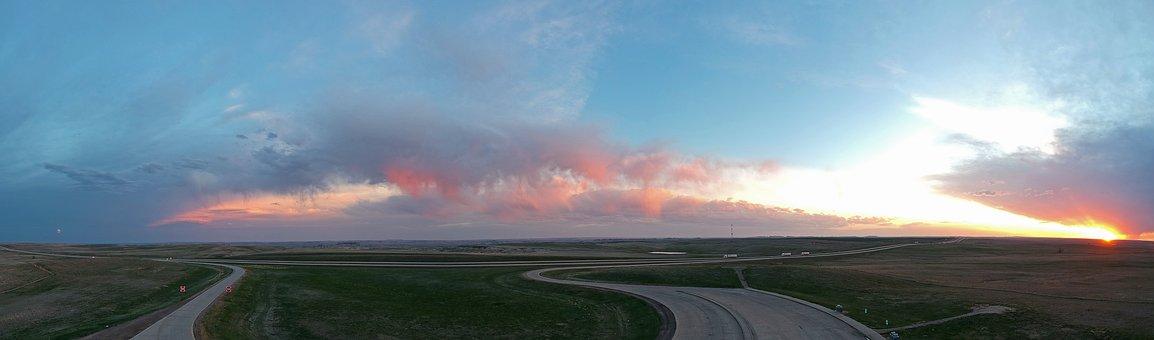 South Dakota, Sunset, 360 View, Highway, Roadtrip