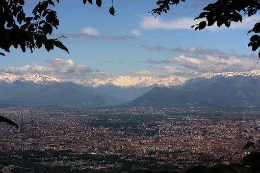 City, Turin, Panoramic, Urban, Alps, Mountains, Sky