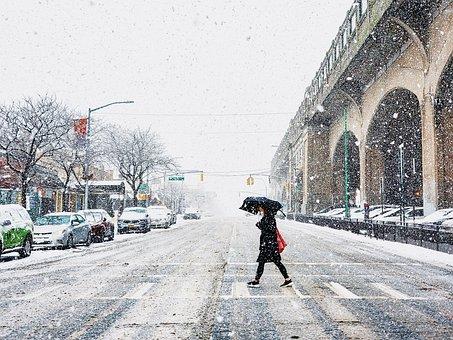 Snow, New York, New York City, Nyc, Street, Umbrella