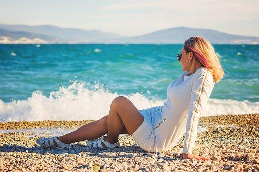 Woman, Waves, Sea, Sand, Shore, Female, Sitting