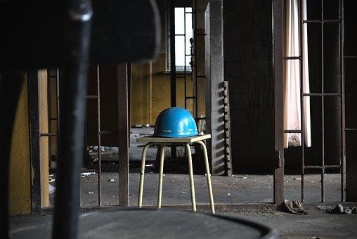 Helmet, Building, Abandoned, Chair, Indoors, Old, Urbex