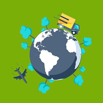 Earth, Airplane, Truck, Globe, Trees, World, Space